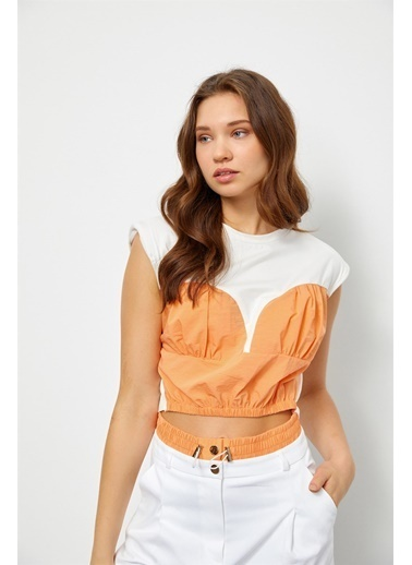 Setre Ekru-Atlantis Color Block Crop Top Oranj